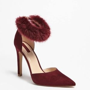 Forever 21 Faux Fur Ankle Strap Heels size 6